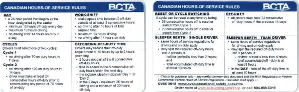 Canadian Hours Of Service Rules Wallet Card Bcta