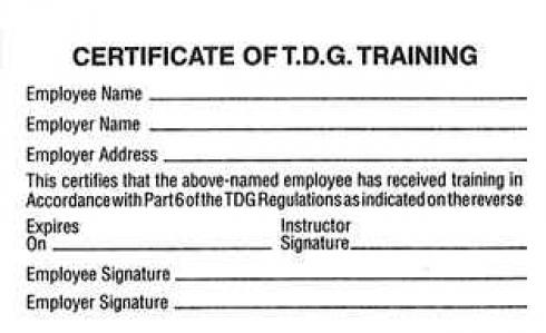 Certificate of tdg training cards bcta for Dangerous goods certificate template
